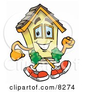 Clipart Picture Of A House Mascot Cartoon Character Running