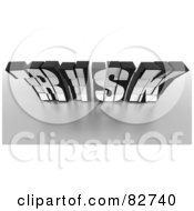 Royalty Free RF Clipart Illustration Of A Crumbling 3d Black Word Risk Made Of Blocks Leaning Forward by Tonis Pan