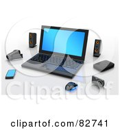 Royalty Free RF Clipart Illustration Of A 3d Computer With Speakers Video Camera Camera Pda And Mouse by Tonis Pan