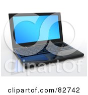 Royalty Free RF Clipart Illustration Of A 3d Black New Laptop Computer With A Blank Blue Screen On A Reflective Surface by Tonis Pan