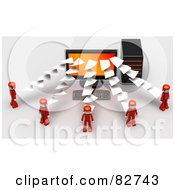 Royalty Free RF Clipart Illustration Of 3d Pages Flowing To Or From A Desktop Computer To Red People