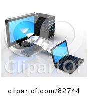 Royalty Free RF Clipart Illustration Of A 3d Pages Of Data Flowing To Or From A Desktop Computer And Laptop