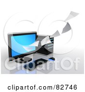 Royalty Free RF Clipart Illustration Of A 3d Pages Of Data Flowing To Or From A Desktop Computer