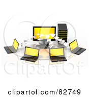 Royalty Free RF Clipart Illustration Of 3d Pages Flowing To Or From A Yellow Screened Desktop Computer To Multiple Laptops