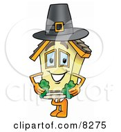 Clipart Picture Of A House Mascot Cartoon Character Wearing A Pilgrim Hat On Thanksgiving