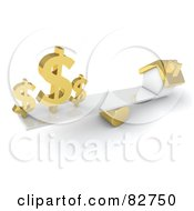 Royalty Free RF Clipart Illustration Of 3d Golden Dollar Signs On A Teeter Totter Opposite A Gold House