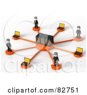 Royalty Free RF Clipart Illustration Of 3d Black Network People Standing Around Servers by Tonis Pan
