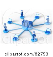 Royalty Free RF Clipart Illustration Of 3d Blue Network People Standing Around Servers by Tonis Pan