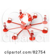 3d Red Network People Standing Around A Globe