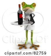 Royalty Free RF Clipart Illustration Of A 3d Springer Frog Waiter Serving Red Wine Pose 2