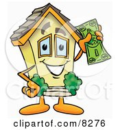 Clipart Picture Of A House Mascot Cartoon Character Holding A Dollar Bill