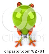 Royalty Free RF Clipart Illustration Of A 3d Springer Frog Holding Up A Large Green Light Bulb