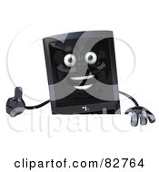 Royalty Free RF Clipart Illustration Of A 3d Black Modern Cellular Telephone Character Holding A Blank Sign And Giving The Thumbs Up