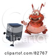 Royalty Free RF Clipart Illustration Of A 3d Rodney Germ Character Chasing A Computer Pose 2