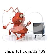 Royalty Free RF Clipart Illustration Of A 3d Rodney Germ Character Chasing A Computer Pose 1