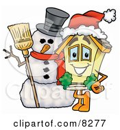 Clipart Picture Of A House Mascot Cartoon Character With A Snowman On Christmas
