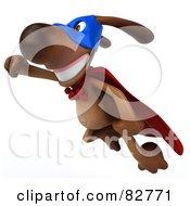 3d Brown Pooch Character Super Hero In Flight
