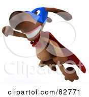 Royalty Free RF Clipart Illustration Of A 3d Brown Pooch Character Super Hero In Flight by Julos