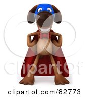 3d Brown Pooch Character Standing In A Super Hero Cape