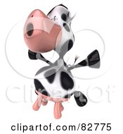 Royalty Free RF Clipart Illustration Of A Leaping 3d Horton The Cow by Julos