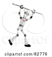 Royalty Free RF Clipart Illustration Of A Robot With A Heart Holding A Sewing Needle Over His Head by mheld