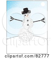 Royalty Free RF Clipart Illustration Of A Snowman Made Of Tiny Snowballs Wearing A Black Hat On A Snowy Day by JR