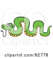 Royalty Free RF Clipart Illustration Of A Cartoon Green Snake With His Back Arched