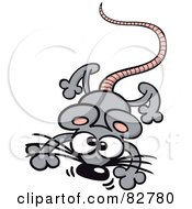 Royalty Free RF Clipart Illustration Of A Cartoon Gray Mouse Jumping Forward by Zooco