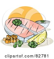 Royalty Free RF Clipart Illustration Of A Healthy Dinner Of Grilled Fish With Lemons Parsley And Veggies