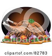 Royalty Free RF Clipart Illustration Of A Roasted Turkey Bird Served With Veggies