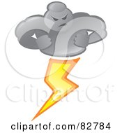 Royalty Free RF Clipart Illustration Of A Bad Weather Man Cloud Striking Lightning