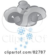 Royalty Free RF Clipart Illustration Of A Bad Weather Man Cloud Snowing by Paulo Resende