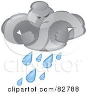 Royalty Free RF Clipart Illustration Of A Bad Weather Man Cloud Pouring Rain by Paulo Resende