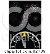 Royalty Free RF Clipart Illustration Of New Year Fireworks In A Black Sky Over A 2010 Countdown Clock