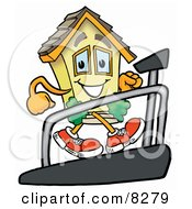 Clipart Picture Of A House Mascot Cartoon Character Walking On A Treadmill In A Fitness Gym