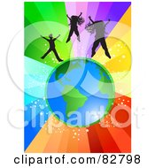 Royalty Free RF Clipart Illustration Of Silhouetted Girls And A Boy Jumping Above Planet Earth Over A Starry Rainbow Burst Background