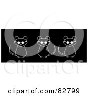Royalty Free RF Clipart Illustration Of A Row Of Black And White Thee Blind Mice by Pams Clipart