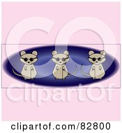 Royalty Free RF Clipart Illustration Of Three Blind Mice Over A Blue Oval On A Pink Background