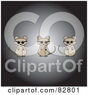 Royalty Free RF Clipart Illustration Of Three Blind Mice Over A Black And Gray Background by Pams Clipart