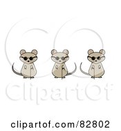 Royalty Free RF Clipart Illustration Of Three Blind Mice With Canes And Sunglasses