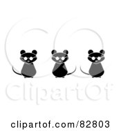 Royalty Free RF Clipart Illustration Of Three Black And White Blind Mice With Sunglasses by Pams Clipart
