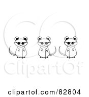 Royalty Free RF Clipart Illustration Of Black And White Three Blind Mice With Sunglasses And Canes