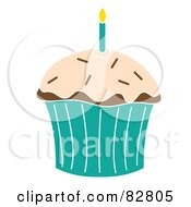 Royalty Free RF Clipart Illustration Of A Chocolate Birthday Cupcake With A Candle Frosting And Sprinkles In A Turquoise Wrapper by Pams Clipart