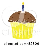 Royalty Free RF Clipart Illustration Of A Chocolate Birthday Cupcake With A Candle Frosting And Sprinkles In A Yellow Wrapper by Pams Clipart