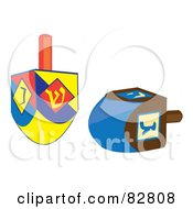 Royalty Free RF Clip Art Illustration Of Two Colorful Driedles by Pams Clipart