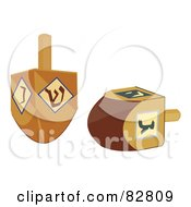 Royalty Free RF Clipart Illustration Of Two Wood Dreidels by Pams Clipart