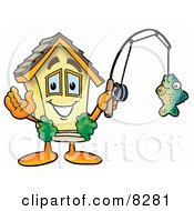 Clipart Picture Of A House Mascot Cartoon Character Holding A Fish On A Fishing Pole