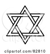 Royalty Free RF Clipart Illustration Of A Black And White Star Of David Design by Pams Clipart