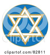 Royalty Free RF Clipart Illustration Of A White And Brown Star Of David In A Blue Circle