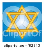 Yellow Star Of David In A Blue Shining Square